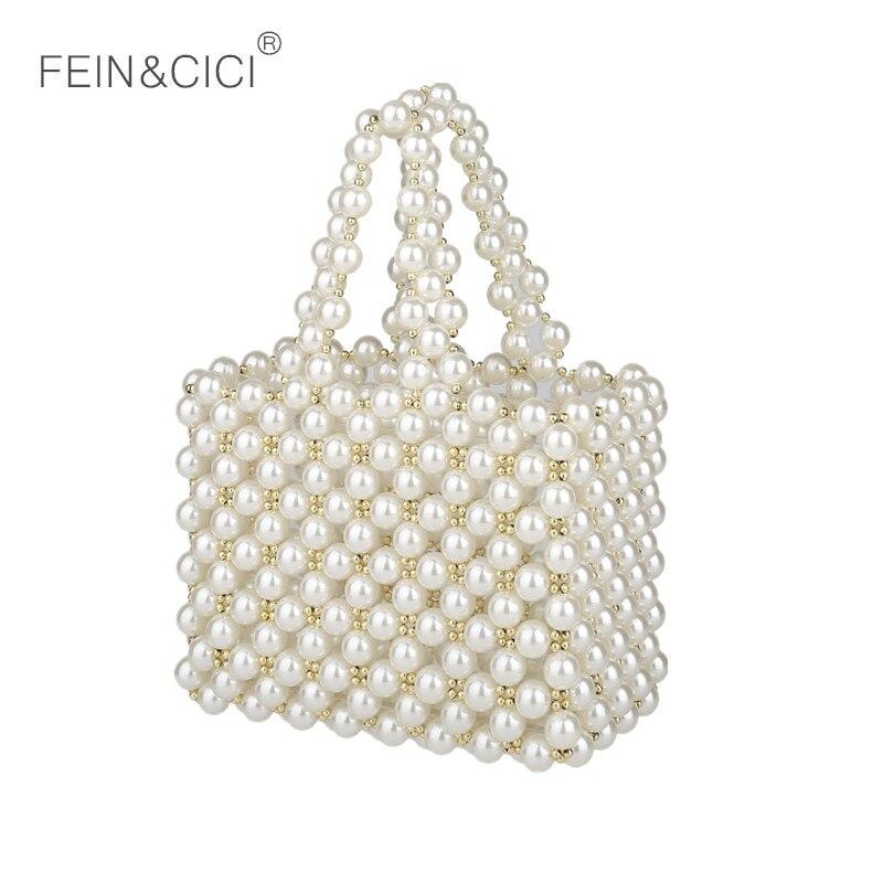 Perles sac perles Vintage boîte fourre tout femmes soirée petite mini sac à main 2019 été marque de luxe en gros-in Sacs à poignées supérieures from Baggages et sacs    1