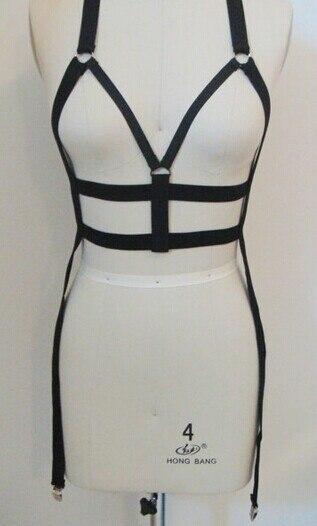 2016 new pastel goth chest elastic bondage bust bondage O ring strap cage suit  lingerie garter belt retail