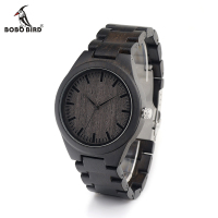 Men S Black Sandalwood Sport Hypoallergenic Wood Watch Black Genuine Leather Strap RT025