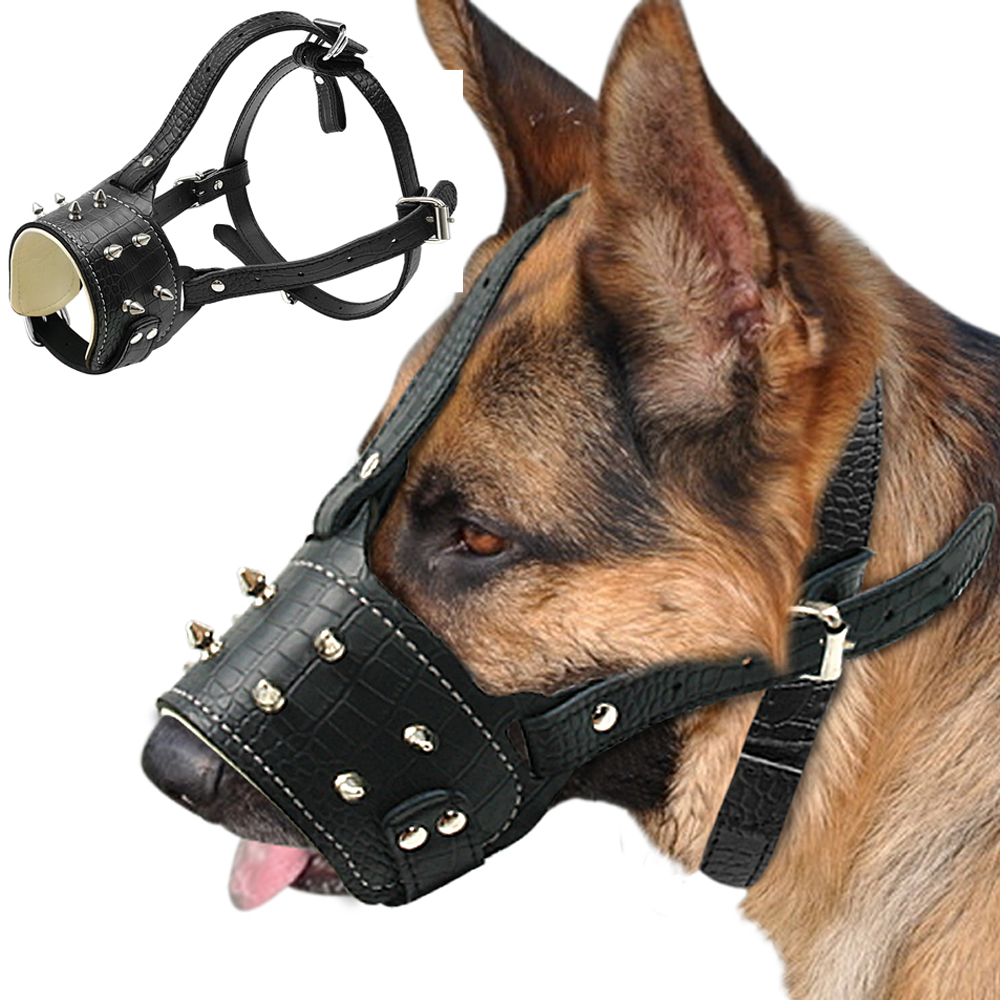 Cool Spiked Stud Pu Lëkurë Qen Muzzle Anti Biting Dogs Padded Traning Muzzle No Bark Pet Maskë Për Qen Pitbull Labrador
