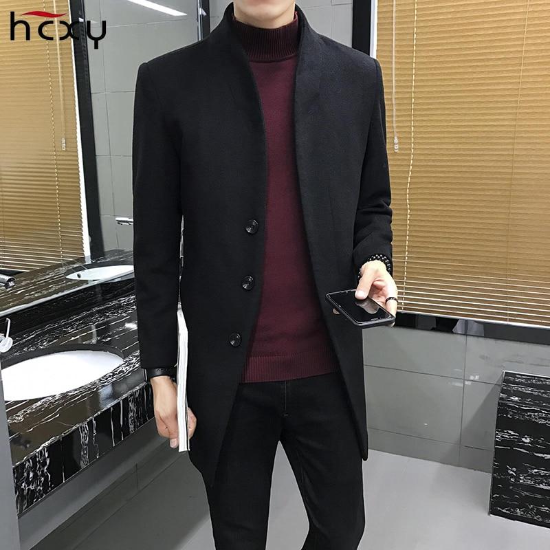 2017new Hommes de laine veste hommes Solide couleur tout-allumette tendance manteau long coupe-vent automne hiver mâle busines parkas
