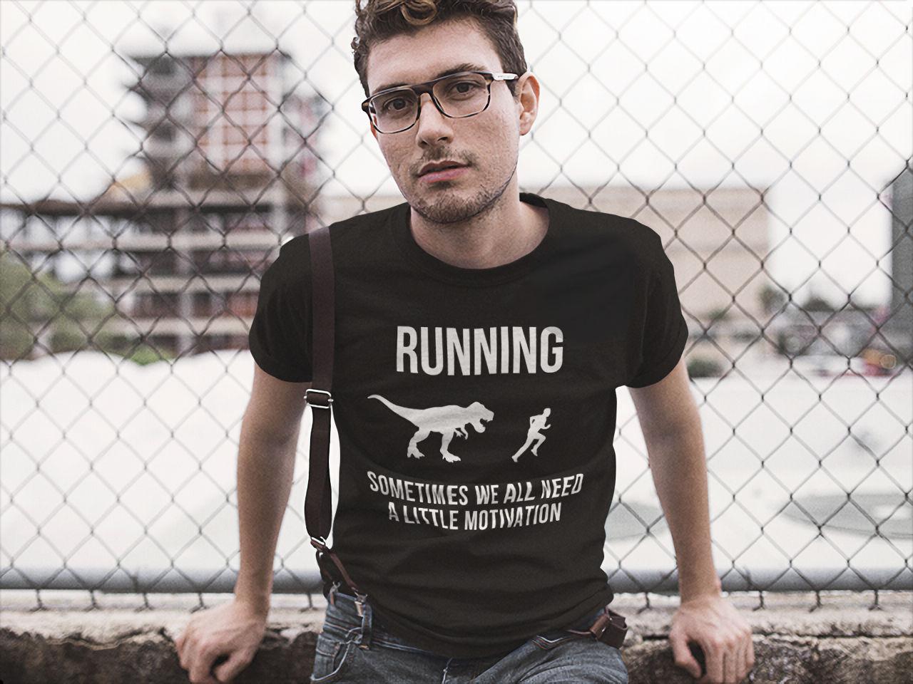New Runninger Motivation Raptor Mens Black T-Shirt Size S-5XL