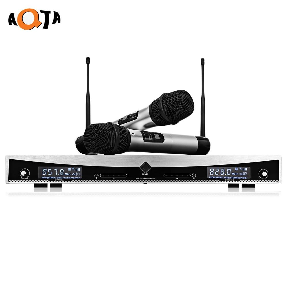 лучшая цена AQTA AT-2022 Wireless UHF Microphone System Handheld Mic for Home KTV 2 Channels