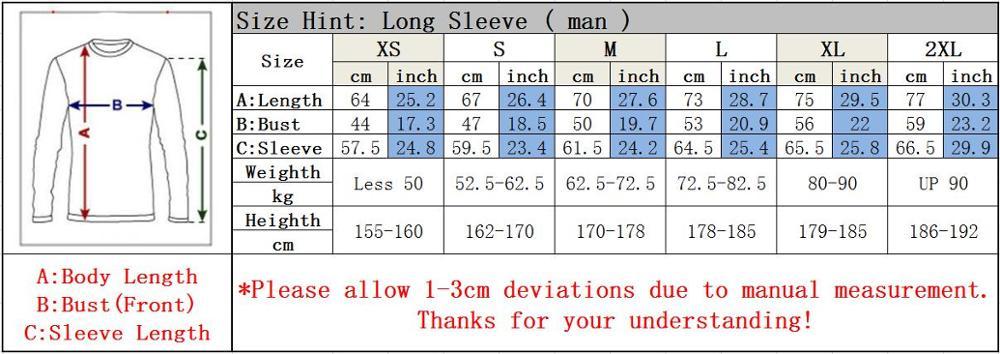 Long Sleeve Man Size Chart