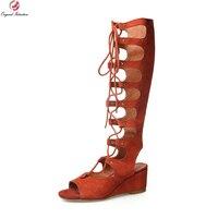 La Intención Original de La Novedad de Las Mujeres Sandalias de Gladiador Suede Kid Plataformas Tacones Sandalias Negro Beige Naranja Zapatos de Mujer de Tamaño EE.UU. 4-10