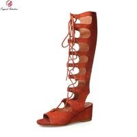 New Novelty Women Gladiator Sandals Sheepskin 5cm Wedges Heels Sandals Black Beige Orange Popular Shoes Woman