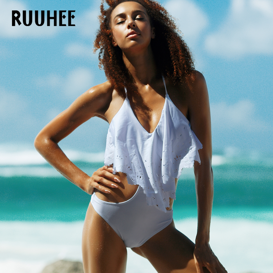 RUUHEE Brand One Piece Swimsuit Swimwear Women Mesh Bodysuit Sexy Bathing Suit Push Up Monokini Maillot De Bain Femme Bikini sexy women one piece swimsuit push up bikini mayo bandage ties monokini swimsuit bathing suit swimwear maillot de bain femme