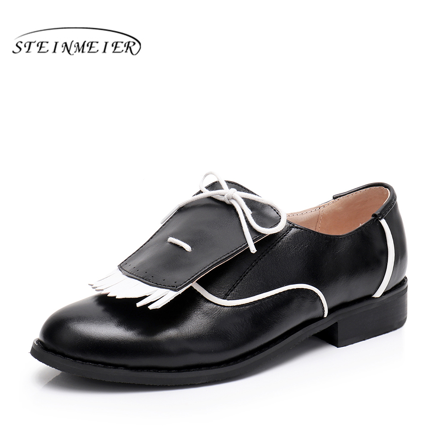 Genuine cow leather brogues flats shoes handmade white black comfortable sneakers oxford shoes for women 2018