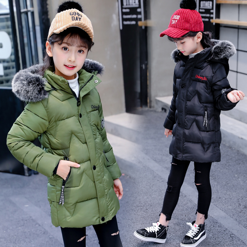 2018 Children's Winter Cotton Warm Jacke Cotton-padded Clothes Winter Jacket Warm Thick Fur Collar Hooded long down Winter Coat