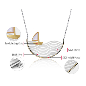 Image 5 - Lotus Fun Real 925 Sterling Silver Handmade Designer Fine Jewelry Creative Gold Sailboat Necklace for Women Acessorio Collier