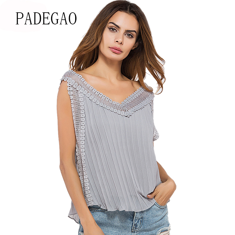 Pink Grey Lace Patchwork Chiffon Blouse Women Pleated Shirt Tops Summer 2018 Sleeveless Beach Blusas Slim Hollow Blouses