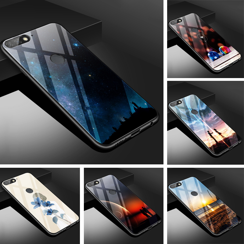 "For Huawei honor 7C Pro 5.99"" Case PC Plastic Glass Phone Case Black TPU Bumper Cover for Huawei Y7 Prime 2018 honor 7C Cover"