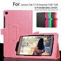 Para lenovo tab3 7 essencial 710f 7.0 polegada tablet caso litchi pu Capa de couro Para Tab 3 710I Fino escudo Protetor + Filme + Caneta