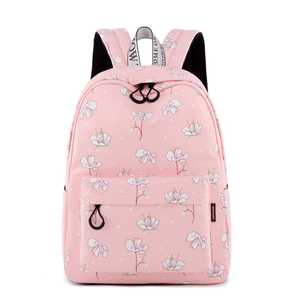 Waterproof Backpack for Women Pink White Flower Pattern Print Backpack Suit for 15.6 Inches Laptop Teen Girl Backpack flower pattern elephant print beach throw