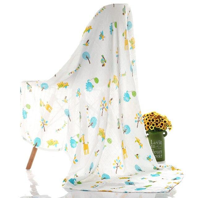 1Pc Muslin 100% Cotton Baby Swaddles Soft Newborn Blankets Bath Gauze Infant Wrap Sleepsack Stroller Cover Play Mat 1