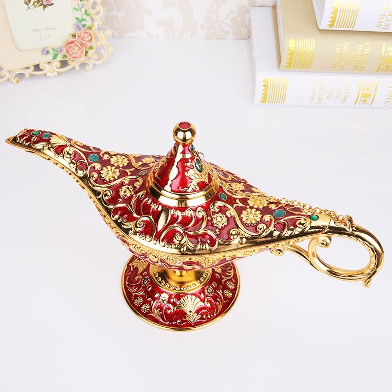 Metal Aladdin Magic Lamp Hollow Retro Wishing Oil Lamp Aladdin's Genie Lamp Incense Burner Home Desk Decor Cosplay