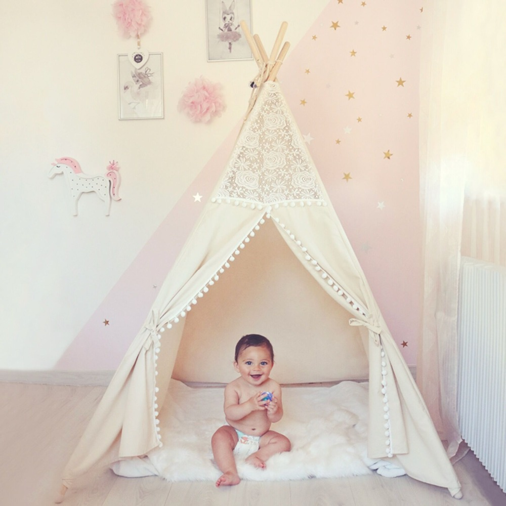 Cotton Toys for Children Lace Teepee Tent For Kids Girls Playhouse Birthday Gifts Indoor Game Tipi Tent Four Poles ...