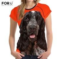 FORUDESIGNS Stylish Women Summer T Shirts 3D Dog English Cocker Spaniel Print Girls O Neck Tshirts