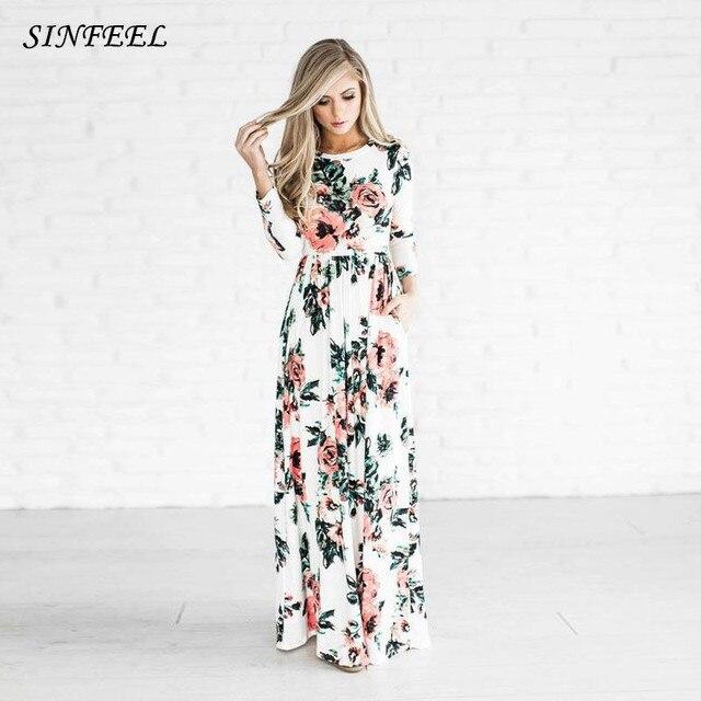 183903375f7ed US $11.91 |Bohemian Maxi Dress 2018 Spring Summer Floral Print Elegant  Party Beach Boho Long Dresses Women Robe Femme vestidos plus size-in  Dresses ...