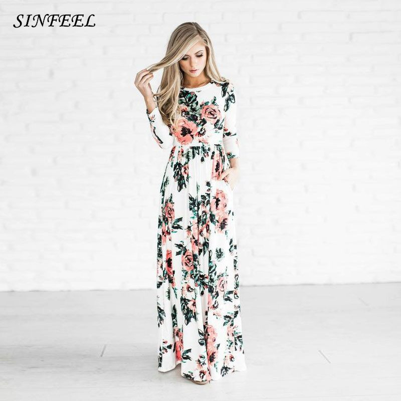 Vestido Maxi boêmio 2018 Primavera Verão Beach Party Boho Cópia Floral Elegante Longo Vestidos Mulheres Robe Femme vestidos plus size
