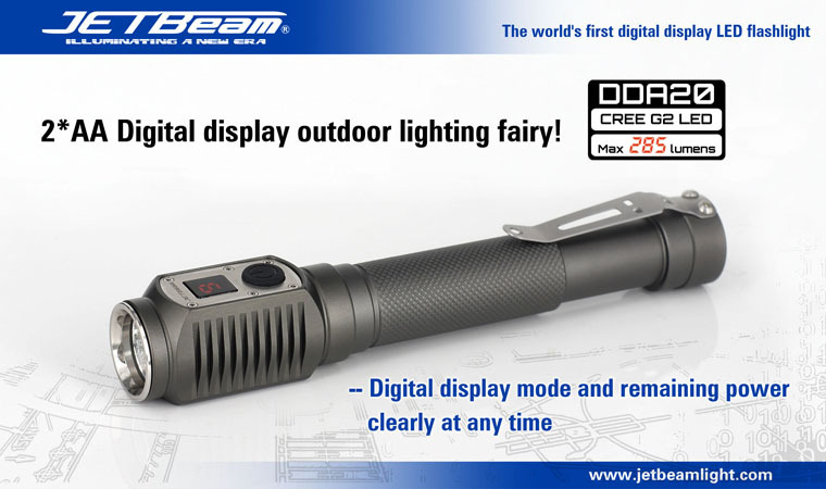 Free Shipping Original JETBEAM DDA20 Cree G2 LED 285 lumens flashlight daily EDC torch Compatible with 2*AA battery jetbeam jet i mk 480lm cree xp g2 led edc flashlight
