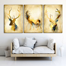 Nordic Vintage Deers Scroll Painting HD Wall Art Canvas Printed Pictures Posters and Prints Home Decorative