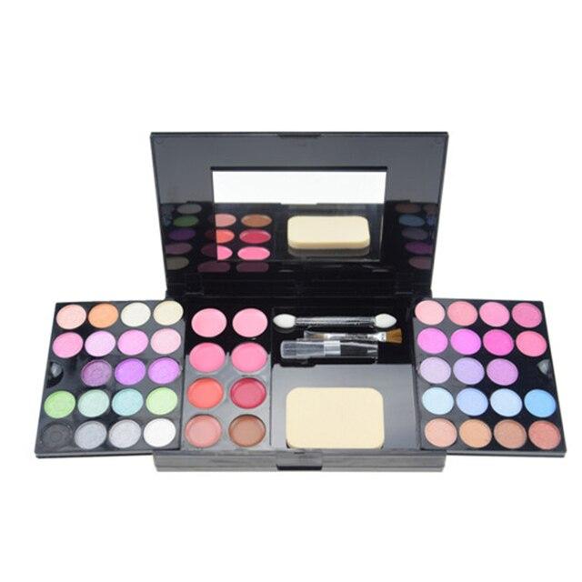 54 colores de maquillaje Profesional paleta de Sombra de Ojos brillo de labios Nude Paleta de Sombra de Ojos Shimmer cosméticos Kit de Maquillaje Colorete Powder brush set