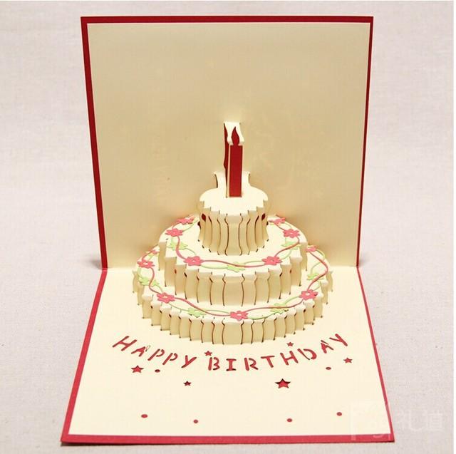 Happy Birthday Gift Greeting Cards DIY Paper Artware Creative Carved Cake Surprise Oufuku Hagaki Congratulation