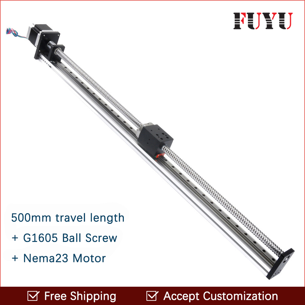 Free shipping 500mm Stroke FUYU Brand C7 Ball Screw Driven Linear Motion Stage Actuator Guide Rail For 3d Printer belt driven guided linear actuator any travel length linear motion motorized linear stage heavy duty belt driven stage