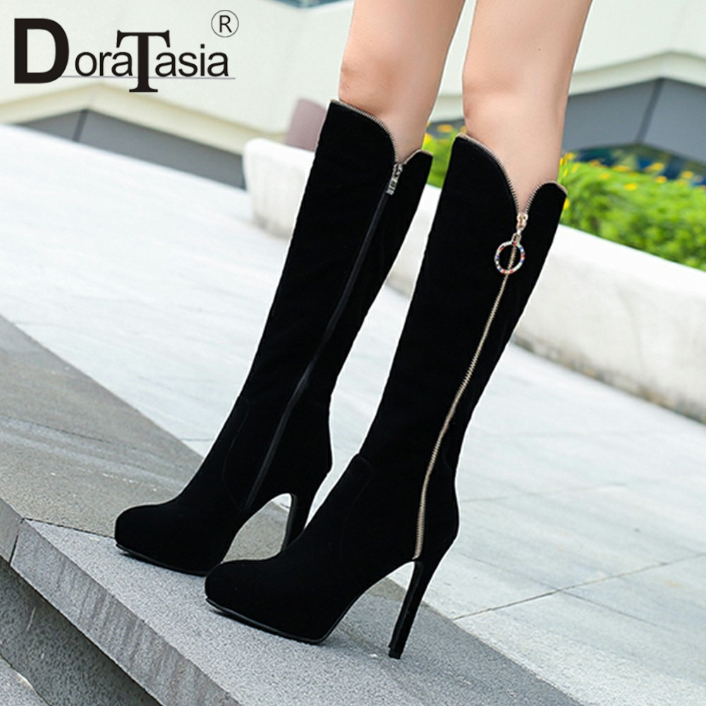 DoraTasia Fashion Comfortable Women Half Knee Boots Super Thin High Heels Mid Calf Boots Female Autumn Winter Shoes Woman newest women half knee high motorcycle boots vintage chunky heels spring autumn outdoor platform shoes woman female boots