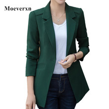 Elegant Jacket Women Blazer Coat 2017 Plus Size Casual Jacket Long Sleeve Candy Color One Button Suit Lady Blazers Work Wear Top