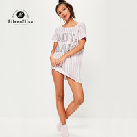Scuwlinen Vestidos Casual Dress 2017 Summer Dress Ladies Fashion Letter Print Dress For Vertical Striped Dresses