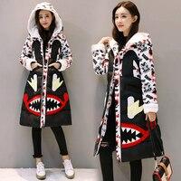 Winter Jacket Women Hooded Parkas Mujer 2019 Korean Print Long Parka Down Cotton Padded Jacket Thick Warm Streetwear Coat Female
