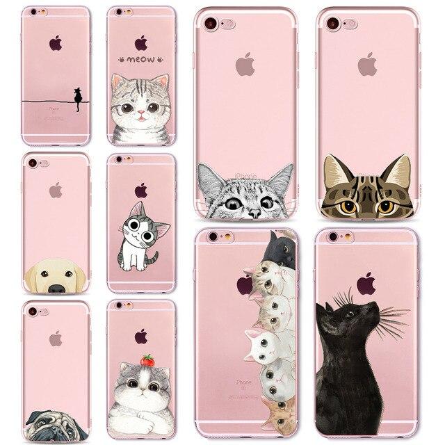 51a5903beca Funda bonita para perro gato para Apple iPhone 7 8 7 Plus 8 plus 6 6 ...