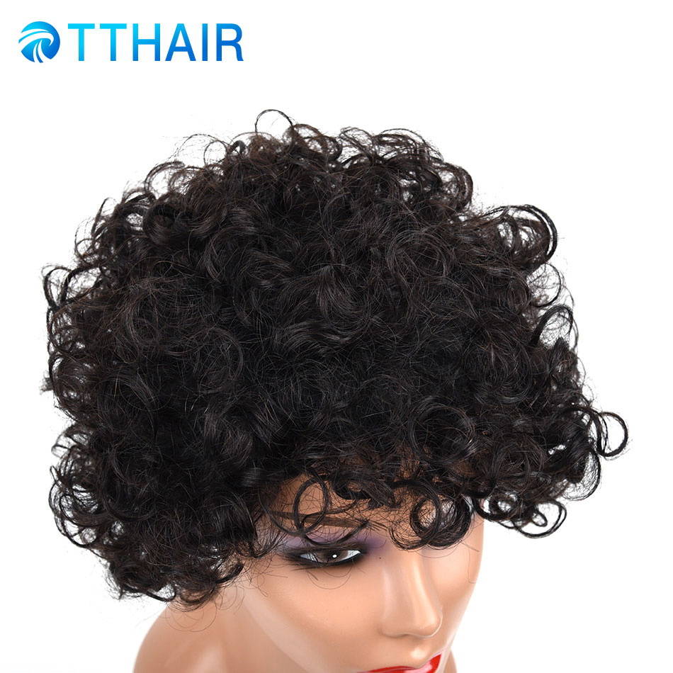 100% Human Hair Short Curl Ombre Wigs Brazilian Remy Hair Deep Curly Short Wigs For African Women Black 3 Colors Machine Made Hair Extensions & Wigs