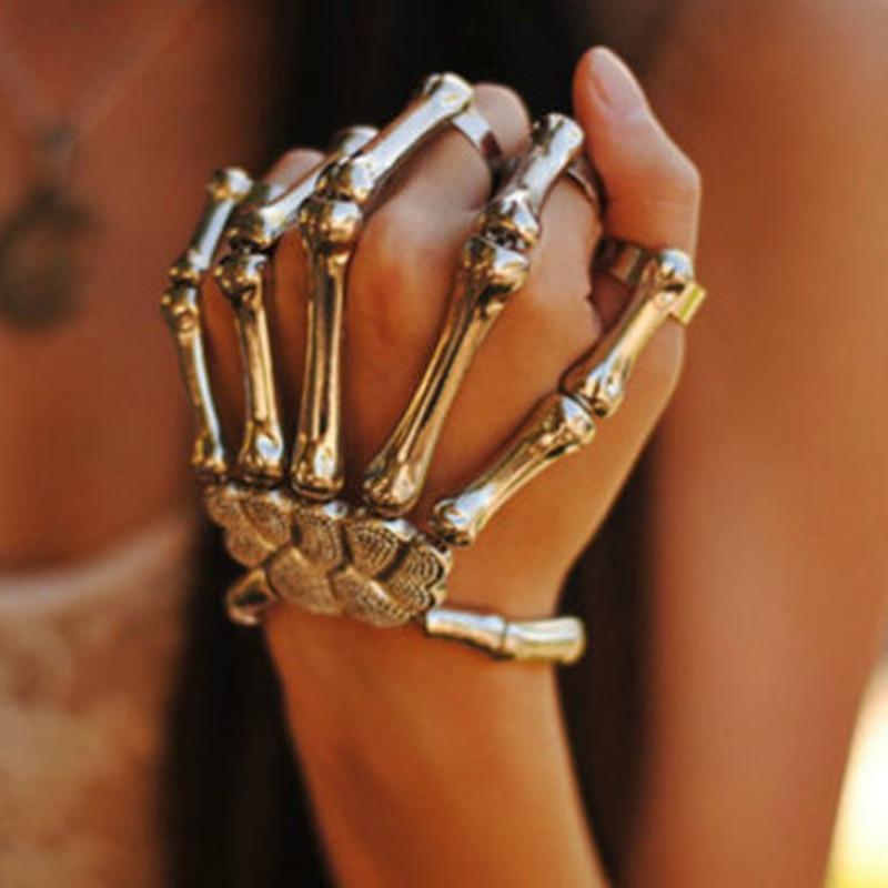 Mode Gold Punk Armbänder Armreifen Für Frauen Zubehör Schädel Skeleton Hand Elastische Steampunk Armband Armreif Männer Schmuck Geschenk Armbänder & Armreifen Armreifen
