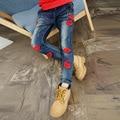 Pantalones Vaqueros de las muchachas Rojo de Labios de Mezclilla Pantalones Para Niñas Niños Ropa de la Historieta Pantalones de las muchachas 4 6 8 10 12 Años Niños Del Otoño Del Resorte ropa