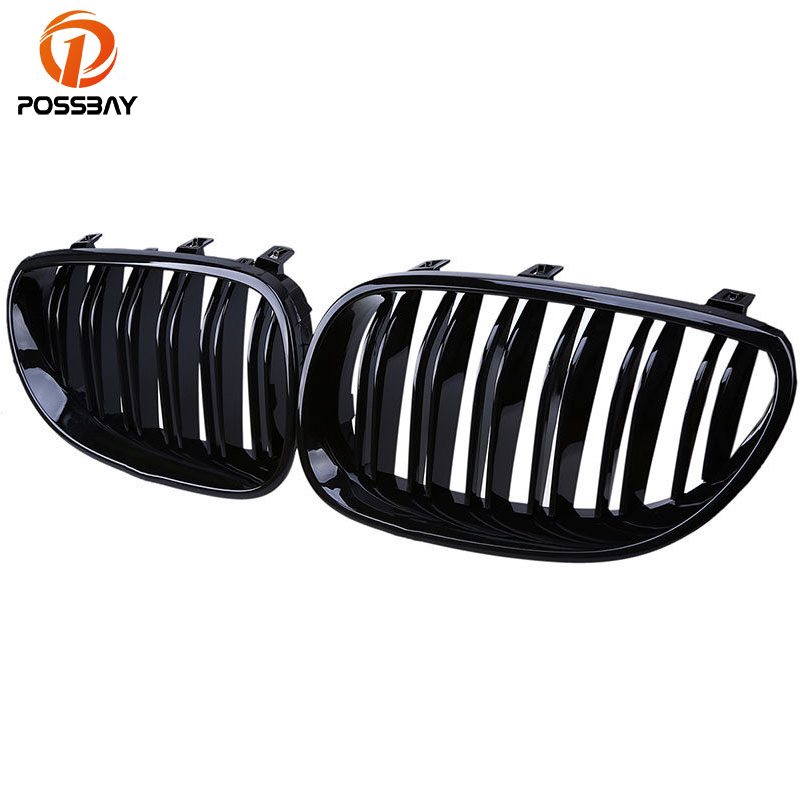 POSSBAY High Quality Double Line Gloss Black Auto Car Front Kidney Hood Grilles Grills Fit for