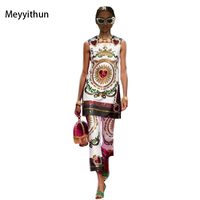 New Arrival 2018 Summer Heart Sequins Beaded Vintage Printed Sleevless Blouse Printed Pant Pants Suit 171027YX01