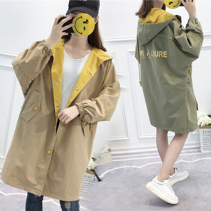 2019 Spring Autumn New Korean Long section Harajuku style BF   Trench   Coats Female students loose Hooded Windbreaker Women Outwear