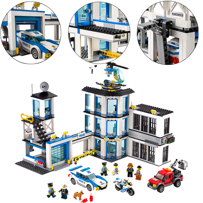 02020 965Pcs Creative City Series The New Police Station Set Model Building Blocks Bricks Toys Kids Gifts 60141 kaygoo building blocks aircraft airplane ship bus tank police city military carrier 8 in 1 model kids toys best kids xmas gifts