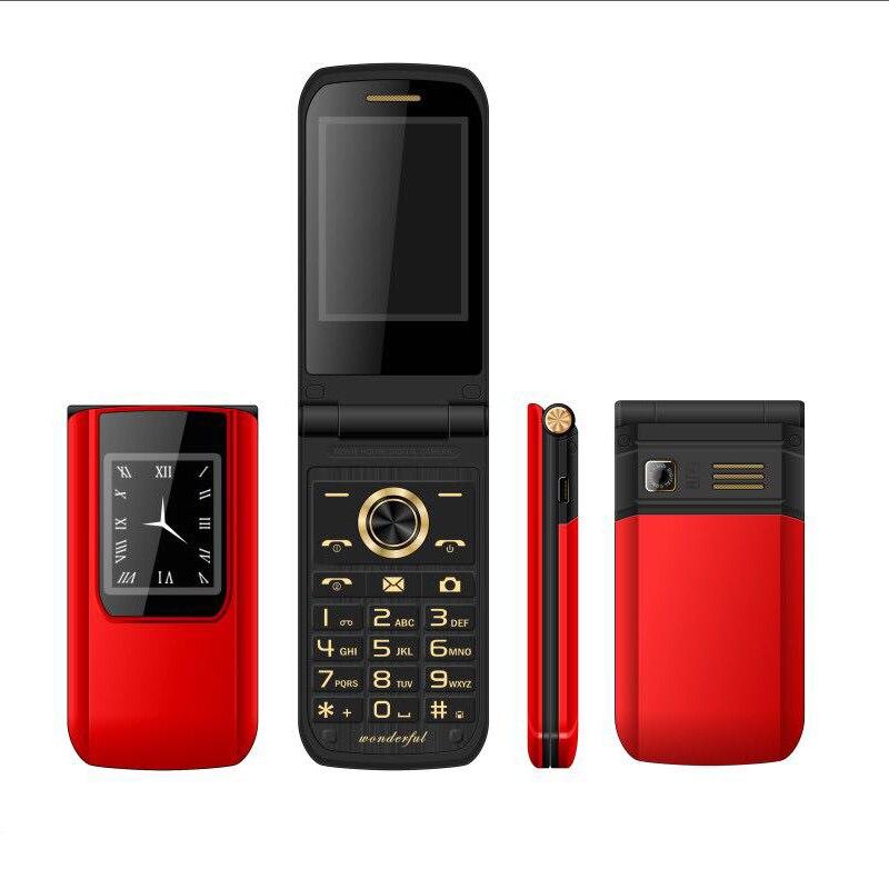 MAFAM Mince Flip Double Écran Pas Cher Principal Contact Mobile Téléphone SOS Vitesse Cadran Double Sim Russe Téléphone Cellulaire Clé Pour aîné P047