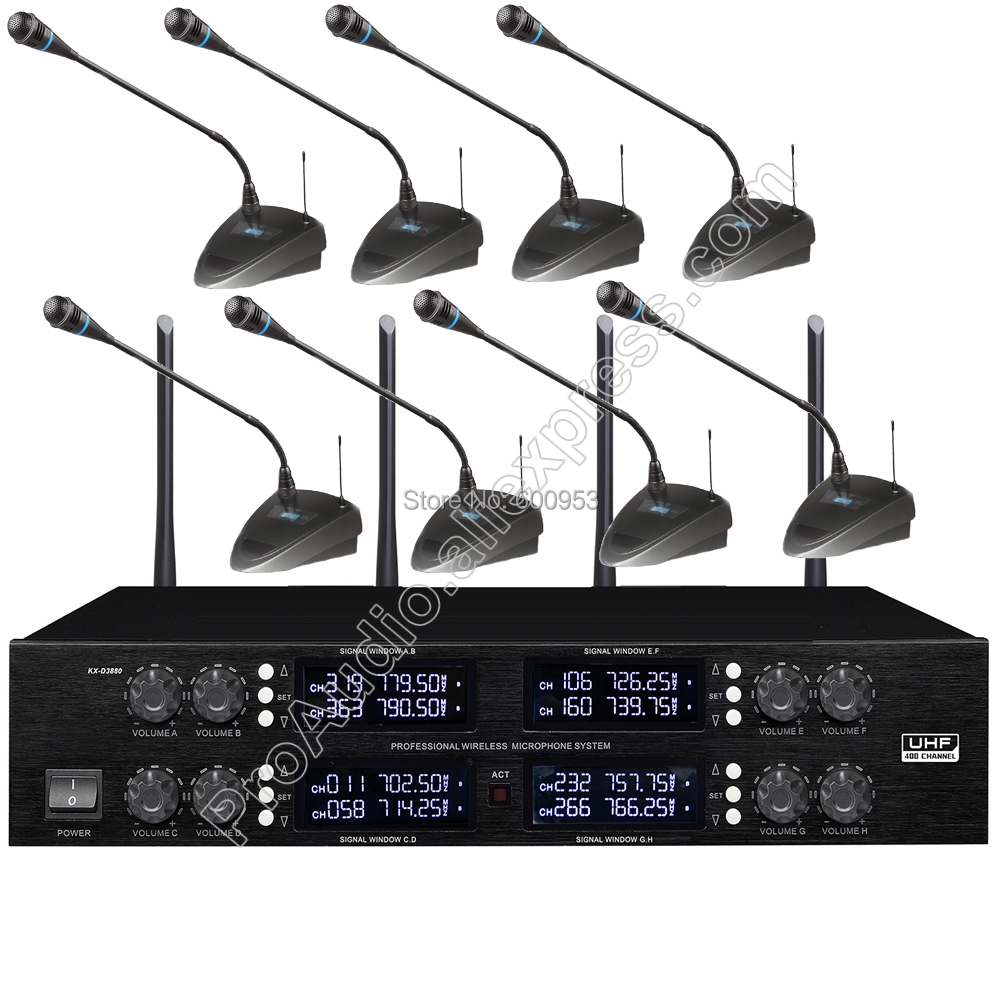 все цены на MICWL 400 Channel 8 Gooseneck Conference Wireless Table Microphone System for Meeting Room UHF Adjustable frequency онлайн