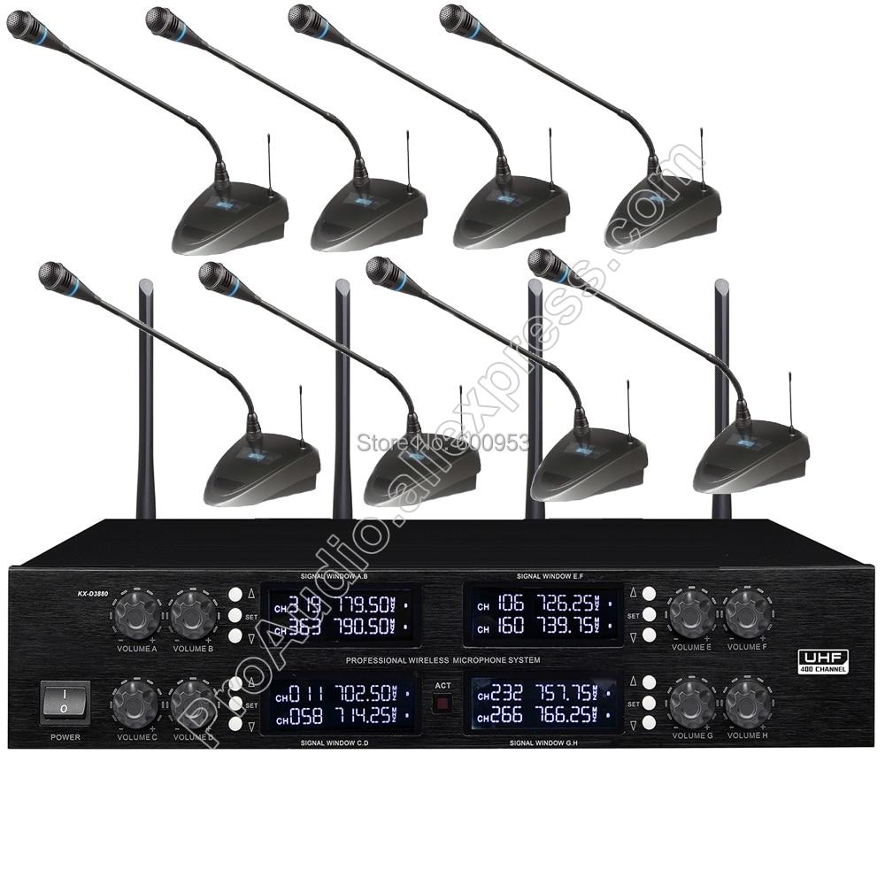 MICWL 400 canal 8 col de cygne conférence système de Microphone de Table sans fil pour salle de réunion UHF fréquence réglable