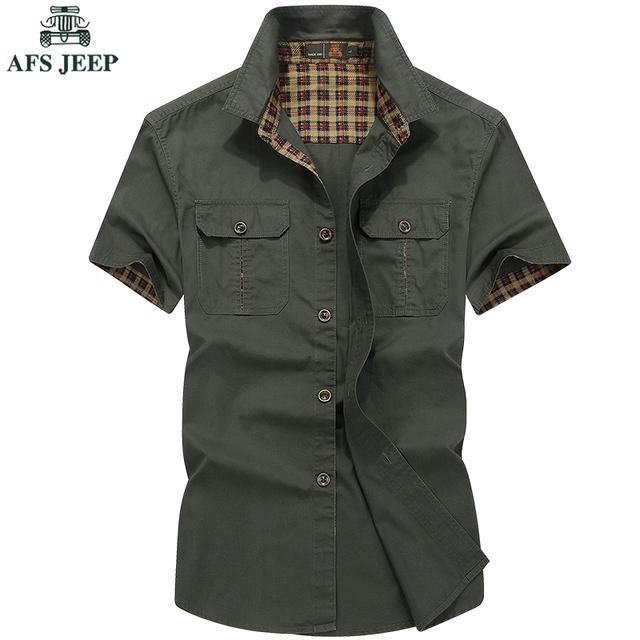 Mens Camisa Casual Slim Fit Roupas de Grife Homens AFS JEEP Plus tamanho M-5XL Verão de Manga Curta 100% Algodão Camisas Sólidas Para Homme