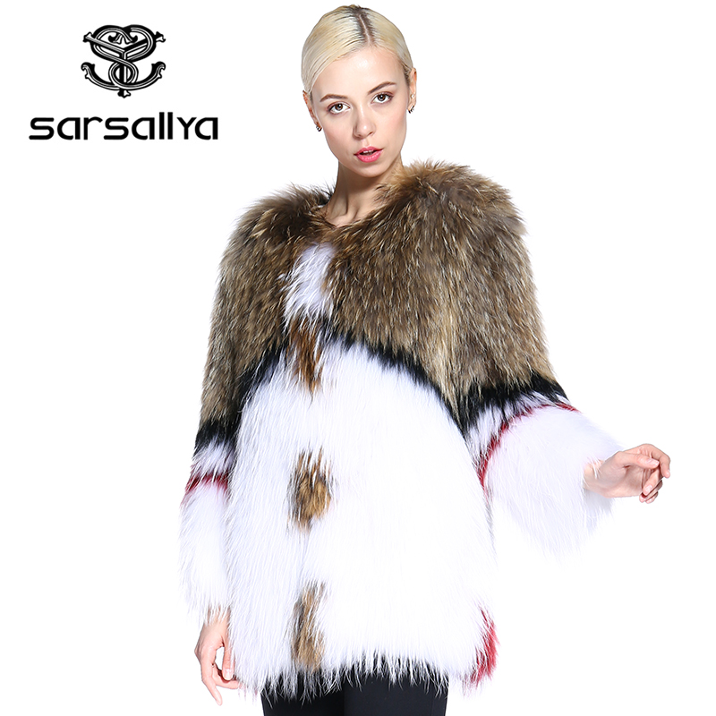 SARSALLYA real fur coat fashion Knitted natural Knitted Raccoon Dog Fur coat women fox fur coats