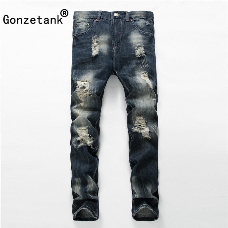 Gonzetank 2017 Broken Dark Zipper Jeans for Men Classical and Straight Boyfriend Narrow for Middle waisted Size 28~42