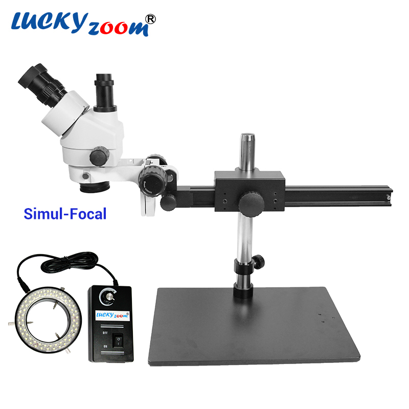 Luckyzoom 7X 45X Simul Focal Trinocular Stereo Zoom Microscope Flexible Tripod Stand 60 Ring Light Soldering