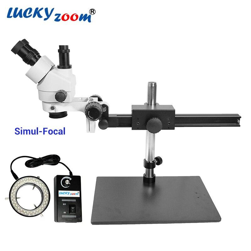 Luckyzoom 7X-45X Simul фокусным расстоянием Тринокулярный стереомикроскоп Гибкий штатив Стенд 60 кольца свет пайки телефон Microscopio