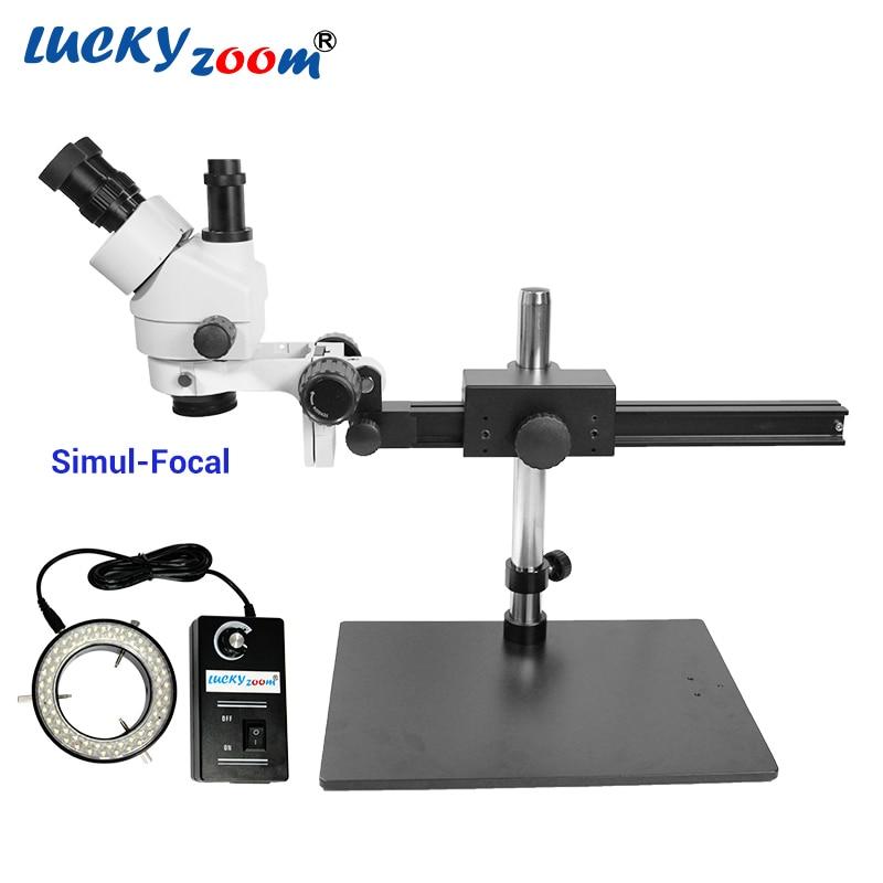 Luckyzoom 7X-45X Simul-Focal Trinocular Stereo Zoom Microscópio Tripé Flexível Stand 60 Anel de Luz De Solda Telefone Microscopio